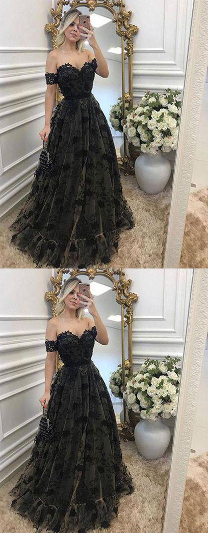Photo of black lace prom dress, off shoulder long prom dress 0377