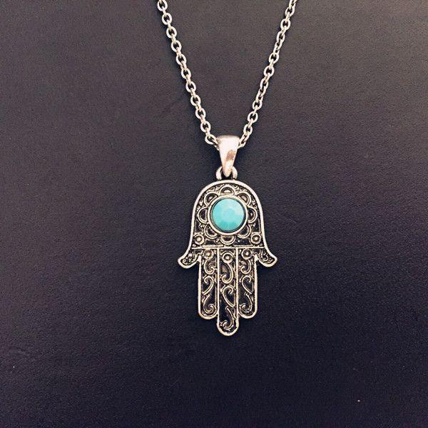 Vintage Silver Turquoise Hamsa Hand Fatima Palm Necklace ...