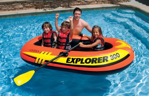 RICH-Po Inflatable Pool Boat Float Boat Dinghy with Paddle Oars Inflatable Rafts Ship for Adults Kids