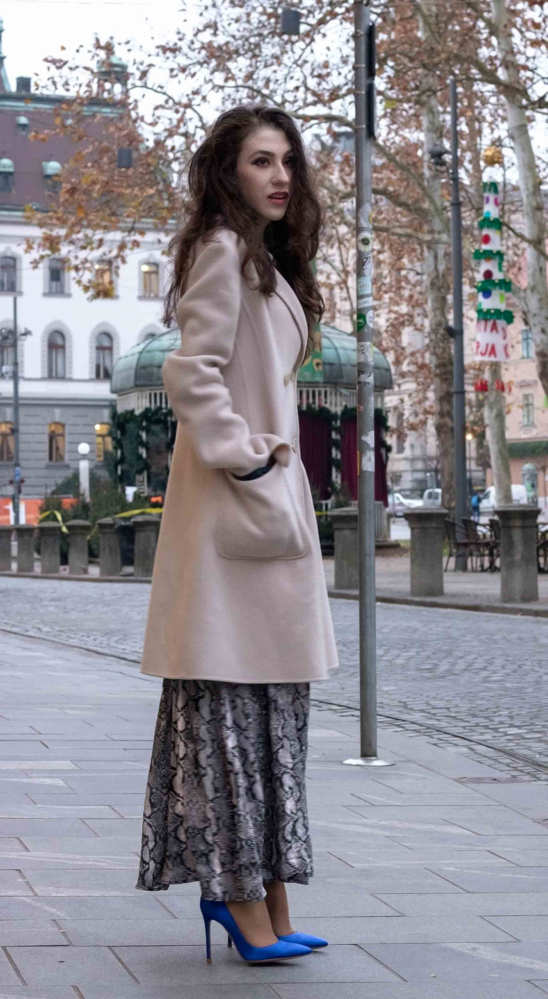07da30d2 Beautiful Slovenian Fashion Blogger Veronika Lipar of Brunette from Wall  wearing Weekend Max Mara double-breasted coat, snakeskin print long Zara  dress, ...