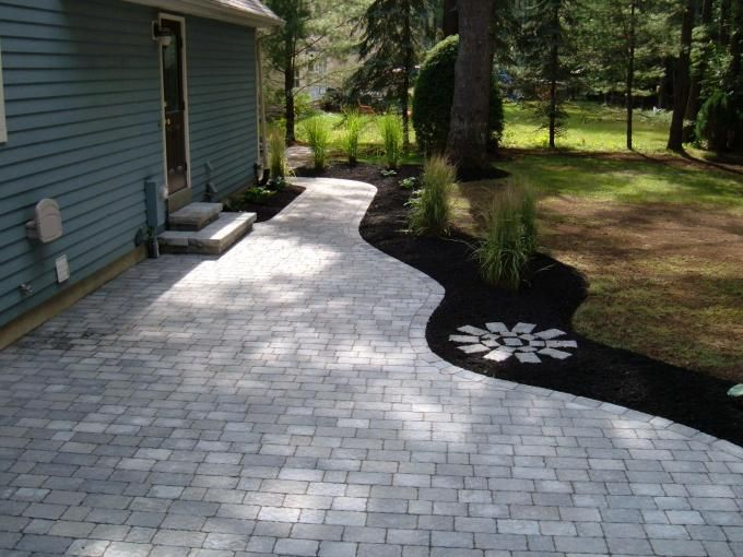 Like How It Curves Into A Walkway Around The House Backyard Paver Patio    Google Search