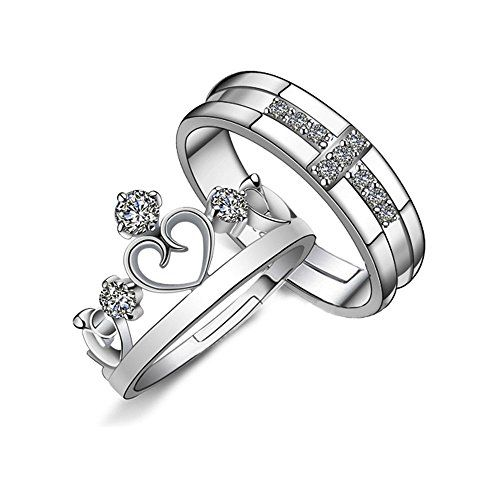 Prince And Princess Crown Couple Adjustable Rings Engagement