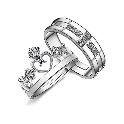Prince And Princess Crown Couple Adjustable Rings