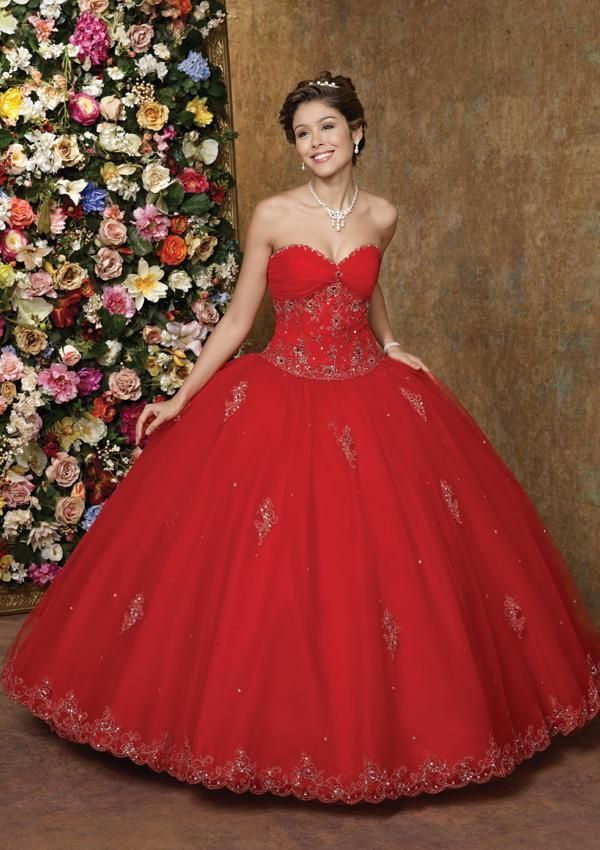 Quinceanera Dresses 2016 Red Ball Gowns Sweetheart Beaded Lace ...