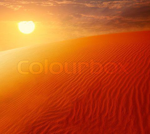 Extreme Desert Landscape With Orange Sunset Beautiful Sandy Background Stock Photo Desert Landscaping Orange Sunset Landscape