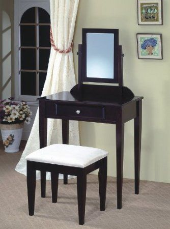 Amazon.com - Roundhill Contemporary Wood Makeup Vanity with Mirror ...