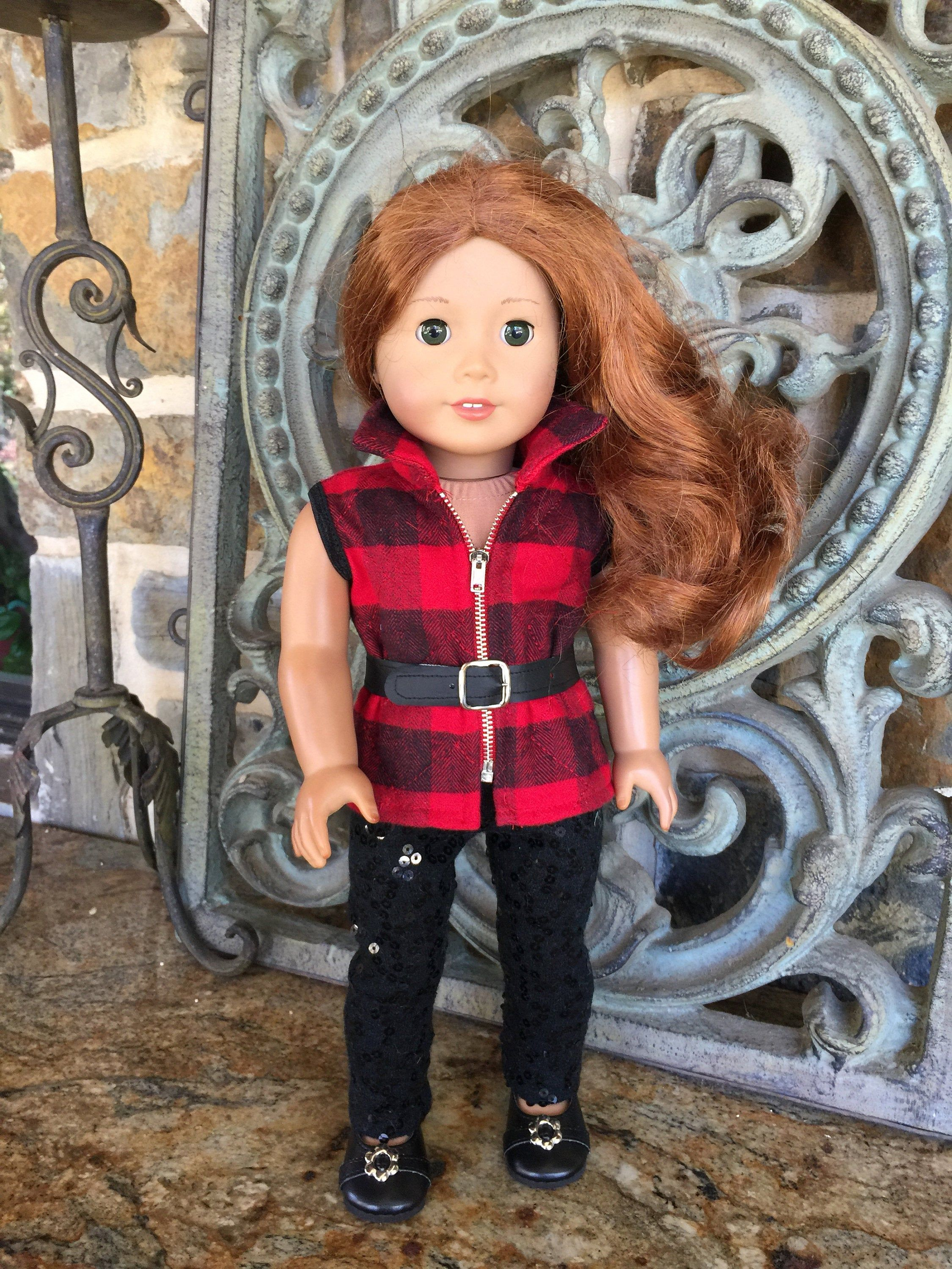 18 inch doll clothes made to fit dolls like the American Girl Doll-quilted zippered vest with collar #18inchdollsandclothes