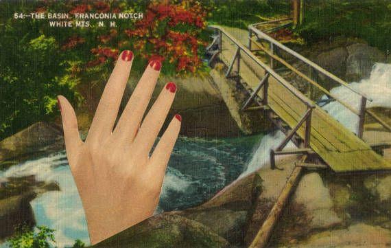 Collage Art Original Surreal Postcard Artwork