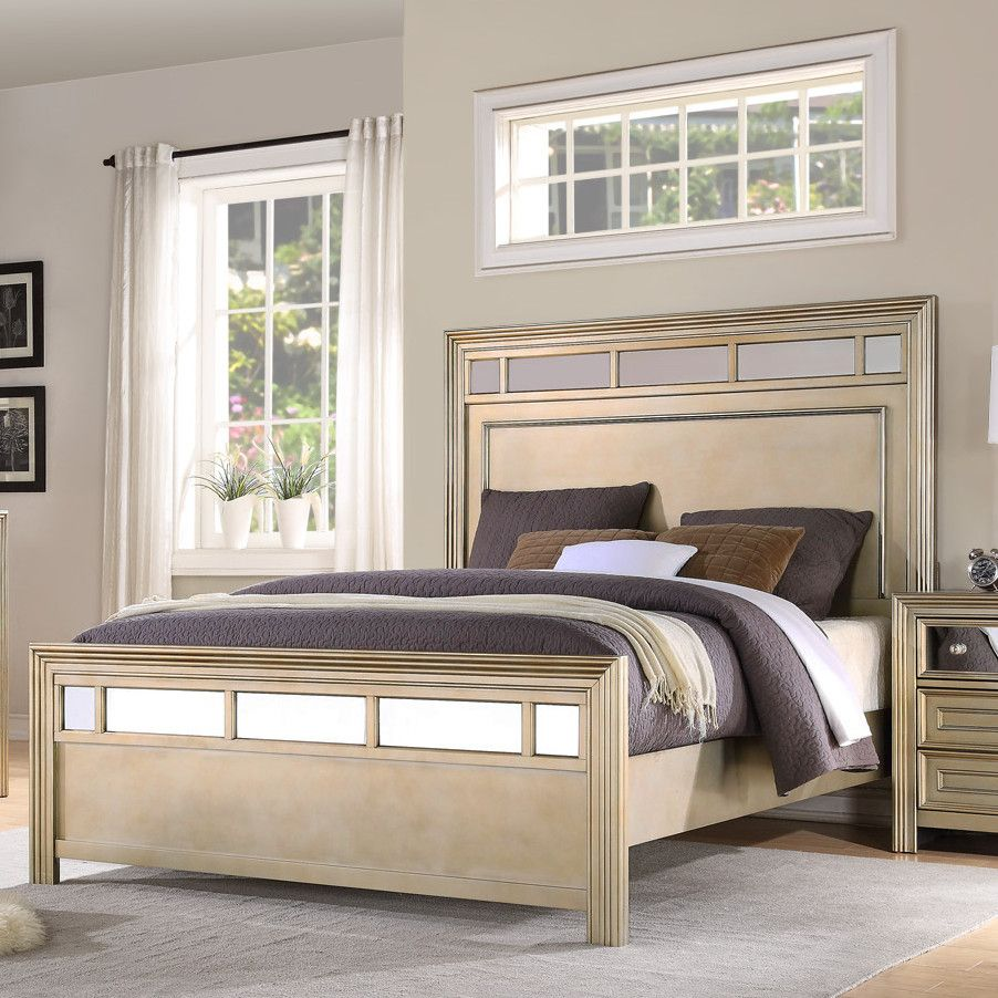 Champagne Standard Bed Bedroom furniture sets, Panel bed