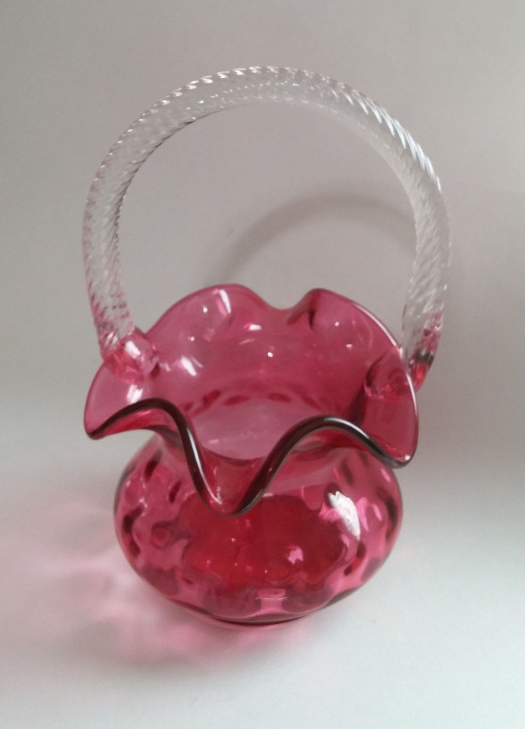Cranberry Crystal Basket With Handle Art Glass Fenton