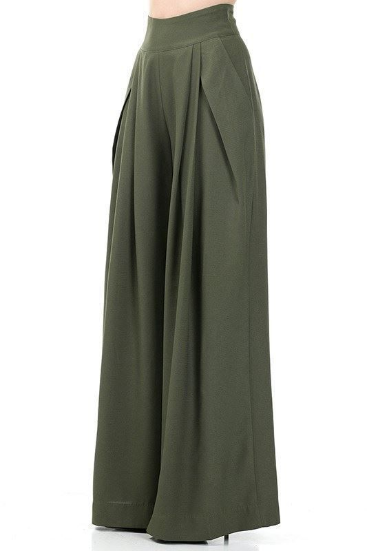 Palazzo Pants Olive Green Front View Need To Know In 2019
