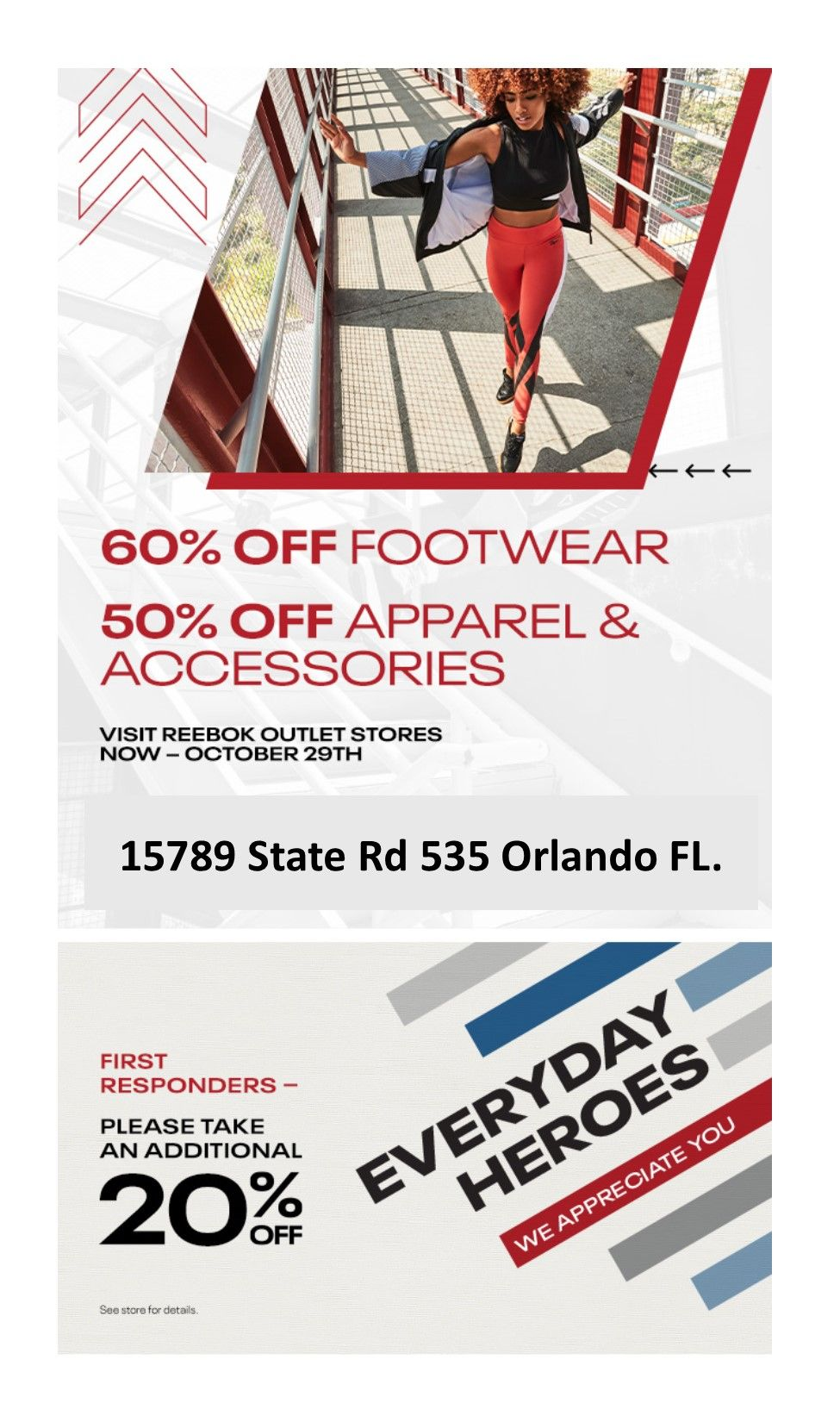 Reebok Outlet In-Store Only: 60% off