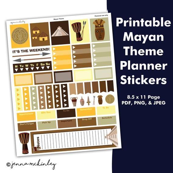 Printable Planner Stickers Decorative Mayan Civilization Theme - Daily Calendar Printable