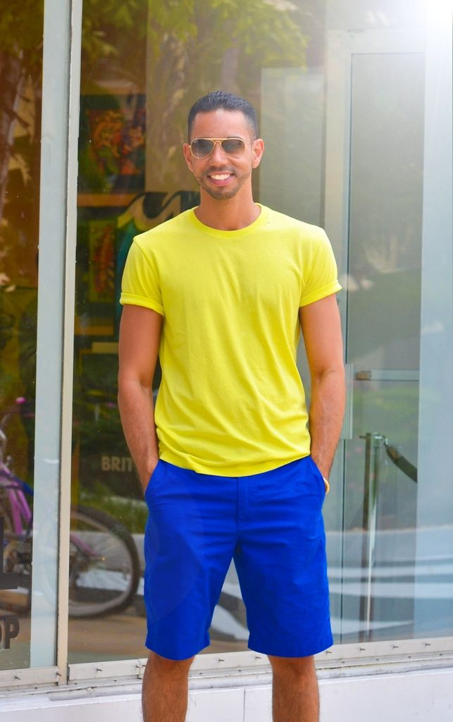 Men's Yellow Crew-neck T-shirt, Blue Shorts | Blue shorts