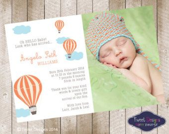 Hot Air Balloon Baby Announcement Google Search FLO Pinterest - Card template free: birth announcement thank you cards