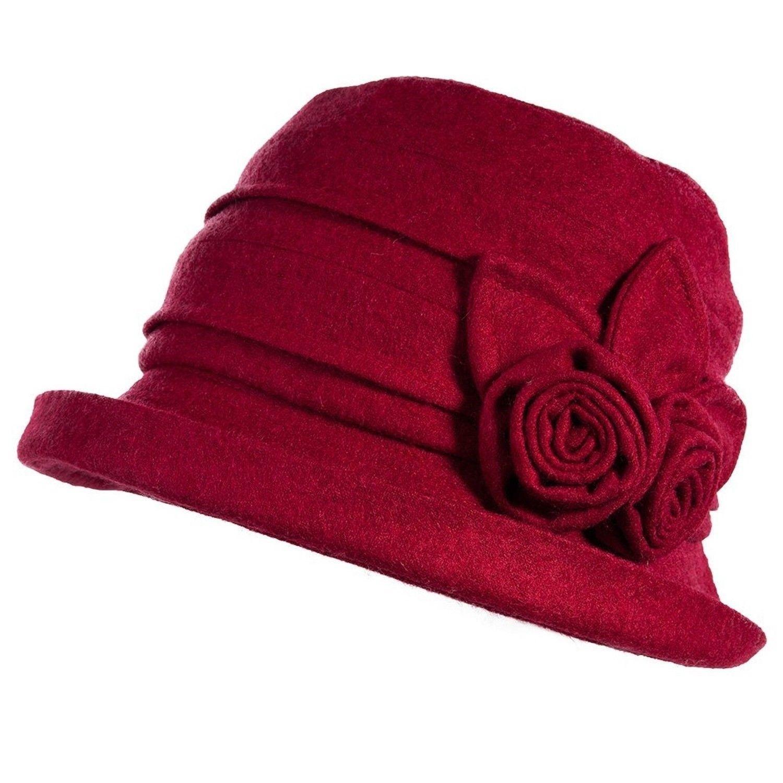 bbd3c30d443 Siggi Ladies 1920s Vintage Wool Felt Cloche Bucket Bowler Hat Packable Red