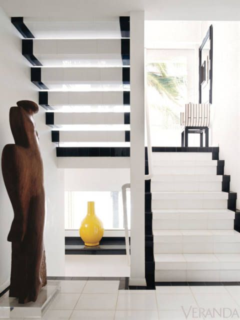 black & white stairs in the home of late designer Geoffrey Beene