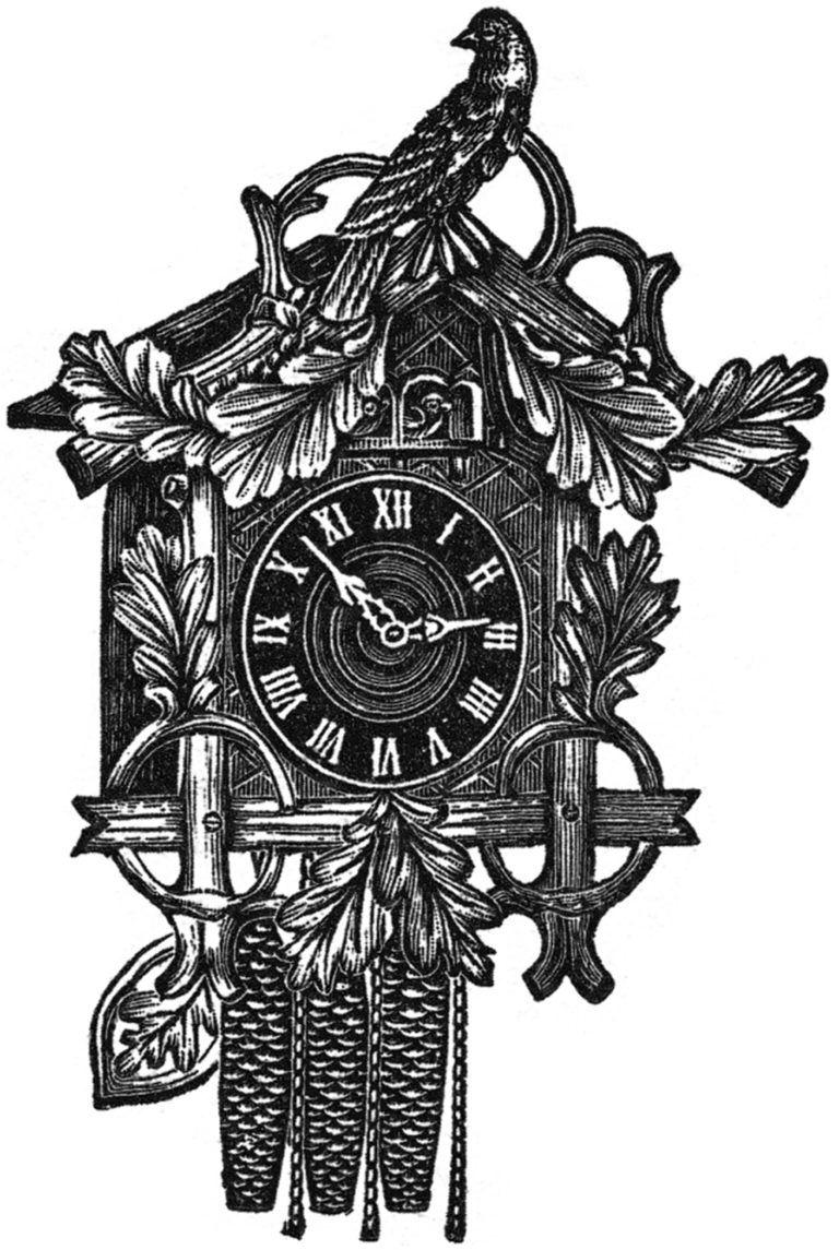 26++ Cuckoo clock black and white clipart info