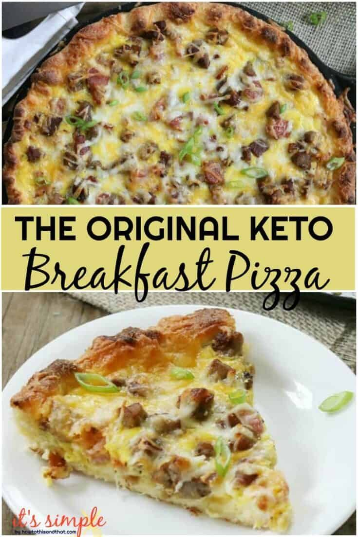 Keto Breakfast Pizza - Meat Lover's Style! Only 1.7 NET CARB Per Slice #ketodinnerrecipes