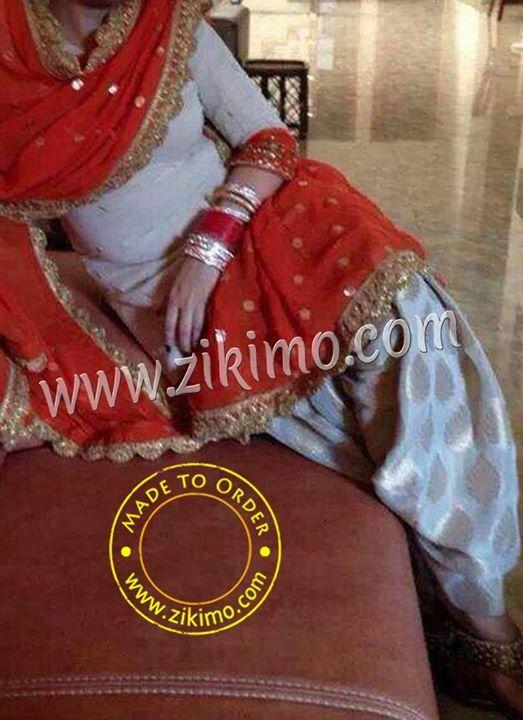White Cotton Satin and Brocade Punjabi Salwar Kameez With Orange Designer Dupatta At zikimo  Shop Now  : http://goo.gl/ECZMw2 - http://ift.tt/1HQJd81