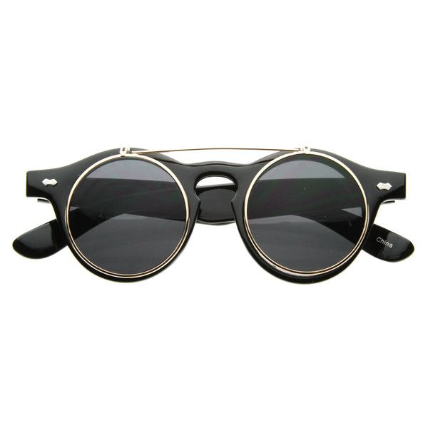 Steampunk Vintage Circle Round Flip Up Vintage Sunglasses