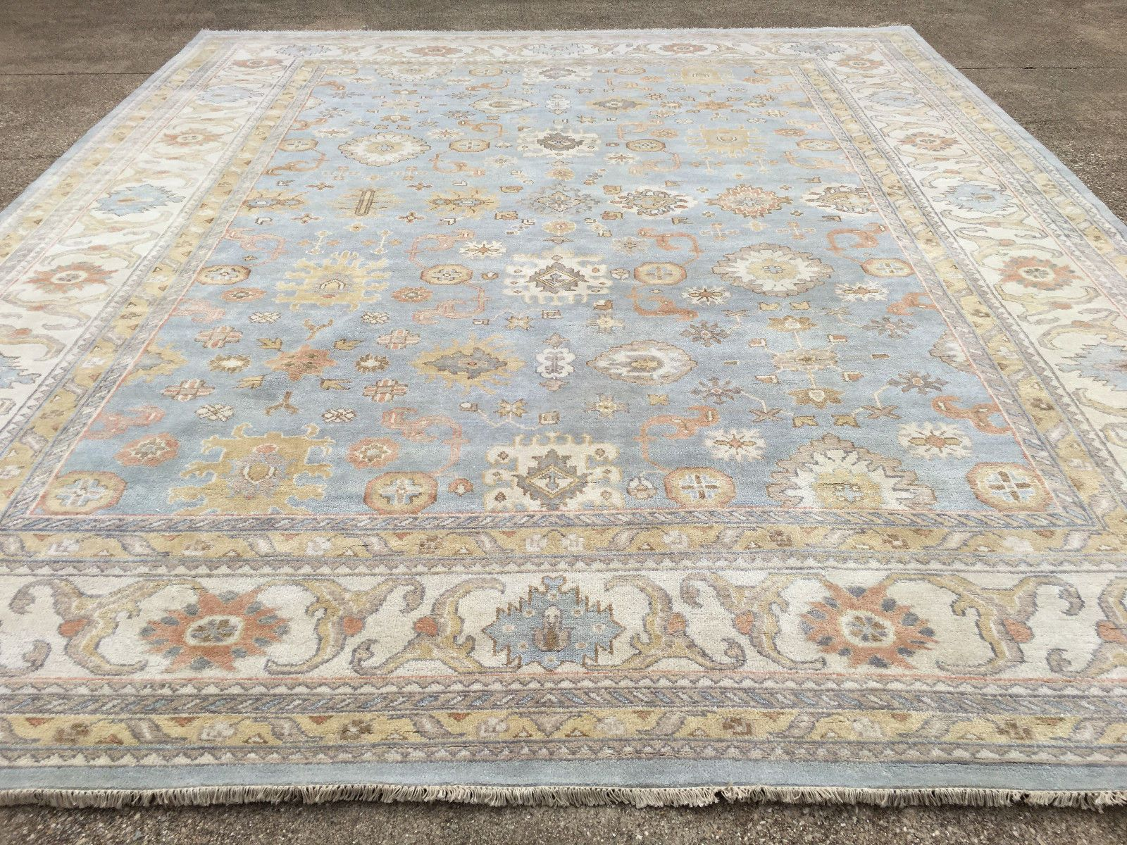 12x15 New Hand Knotted Rug Wool Made Blue Muted Oushak 12 X 15 Persian Rugs 14 Ebay Hand Knotted Persian Rug Rugs Persian Rug