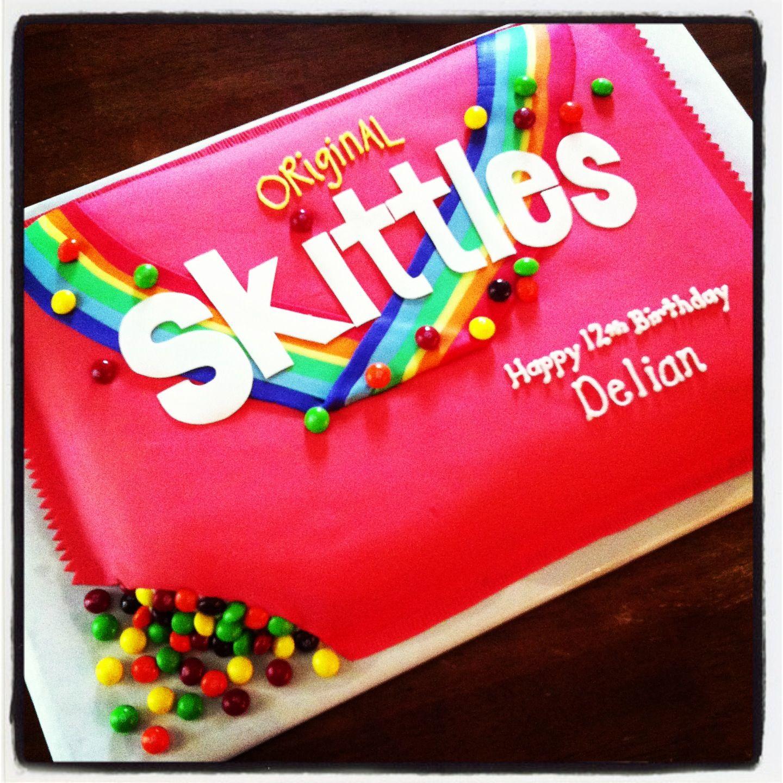 Marvelous Sour Skittles Cake Birthday Cards Printable Benkemecafe Filternl