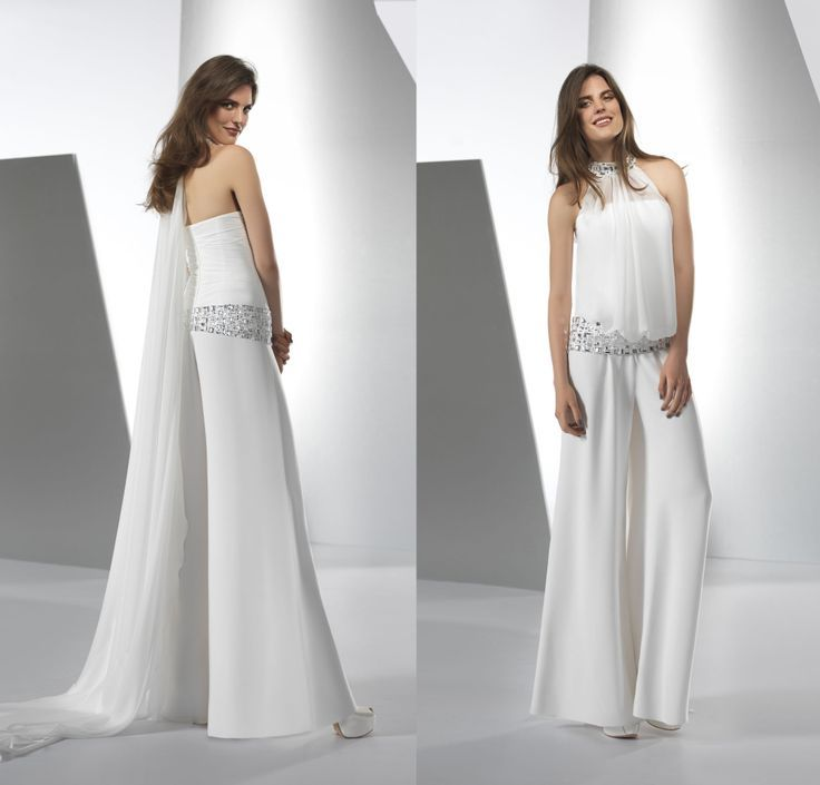 White wedding jumpsuits google search fashion for Womens white dress suit wedding