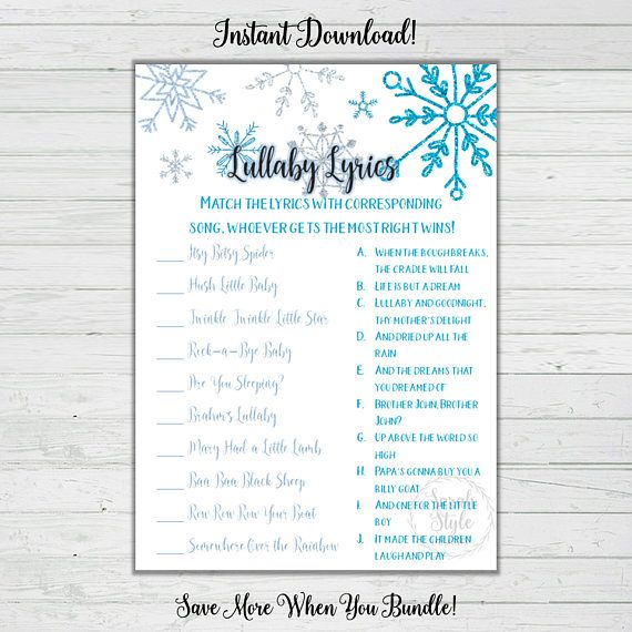 lullaby matching game winter baby shower games. Black Bedroom Furniture Sets. Home Design Ideas