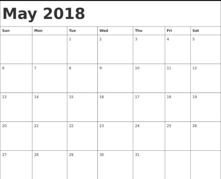 May 2018 Holidays Calendar Template Calendar 2018 Pinterest - holiday calendar template