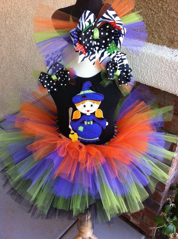 Cutie Witch TuTu Set w/ Ribbon Ruffle Sleeves by flutterbyetutu, $53.50