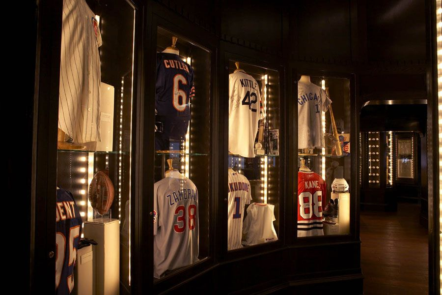 The lighting gives the room a glam look. Sports