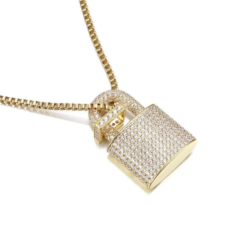 10mm 14k Gold Cz G Link Chain Hip Hop Jewelry King Ice >> 14k Iced Out Lock Pendant Genuine Cz With Chain In 2019 Iced Out