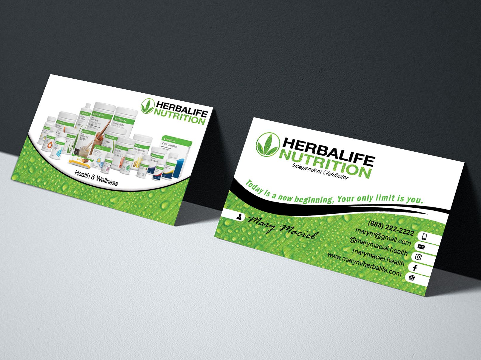 Herbalife Business Cards Design Template Health Fitness 24 Hours Prints Coach