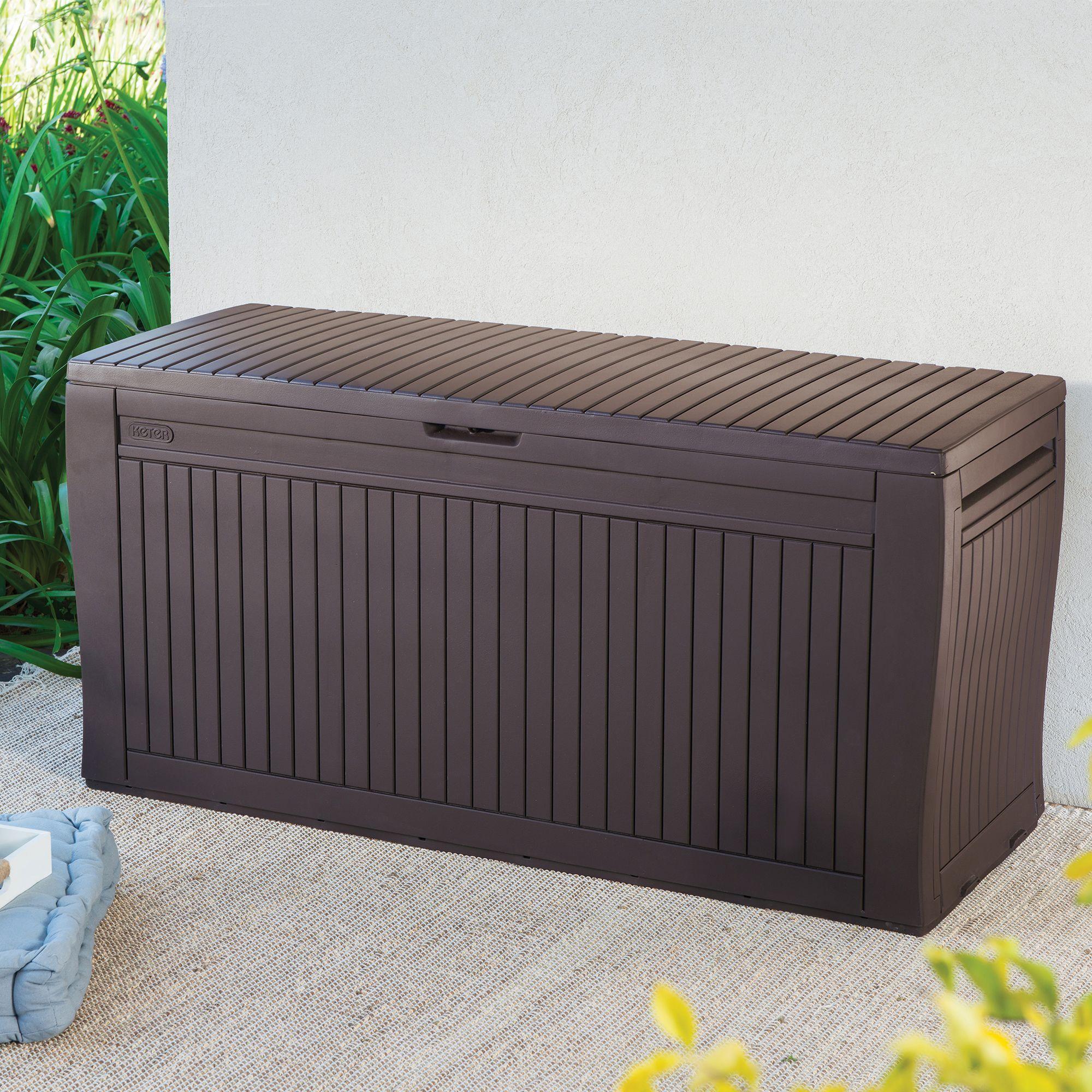 Comfy Wood Effect Plastic Patio Storage Box   Departments   DIY at B&Q