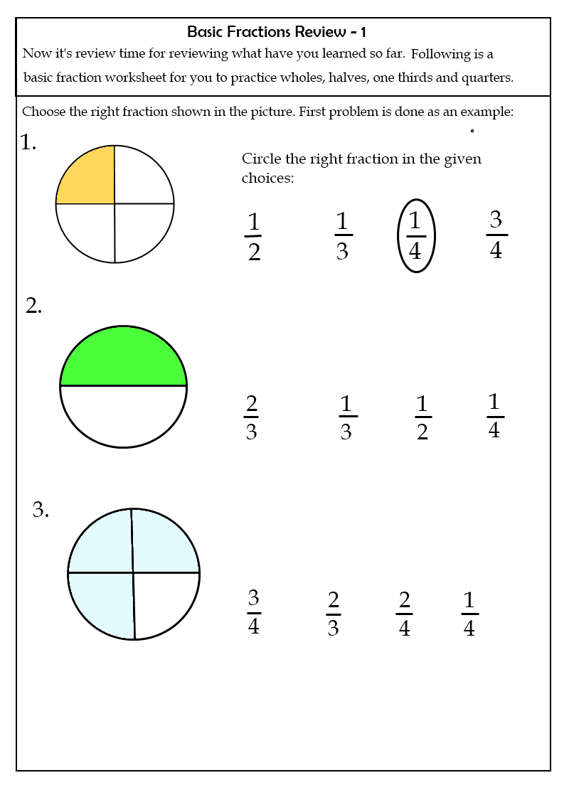 worksheets Grade two fraction worksheets 7 2nd grade