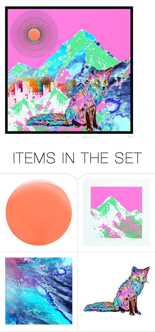 """The Neon Fox"" by beanpod ❤ liked on Polyvore featuring art"