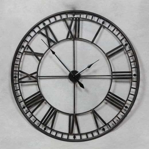 Stunning Extra Large 80cm Black Metal Wall Clock Black Skeleton