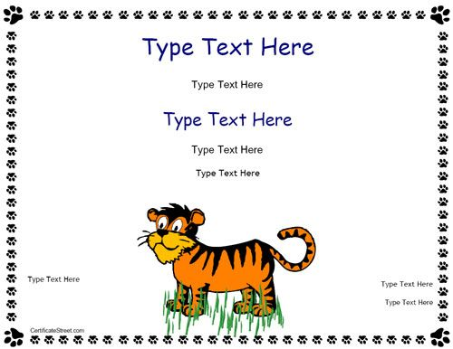 Blank Certificate  Tiger Certificate  CertificatestreetCom