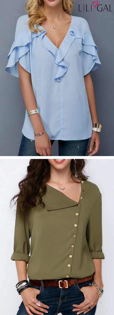 c7750ec38 Baby Blue V Neck Tulip Sleeve Blouse/ Army Green Roll Sleeve Button Detail  Blouse #
