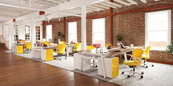 Another nice wood floor minimalist no wall layout office - Signe different open office ...