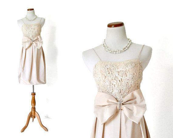 80s Dress / Sequin  Dress / Nude Dress / Party Dress / Small Dress / Peach Dress /  Women Dresses Evening  / Vintage Clothing Dresses Formal...