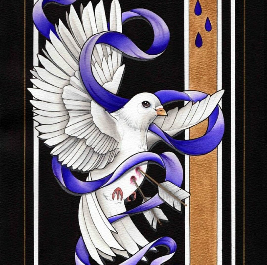 Sofie Simpson Tattoo Nala Studio Tamworth Prints Available Dove With Purple Ribbon And