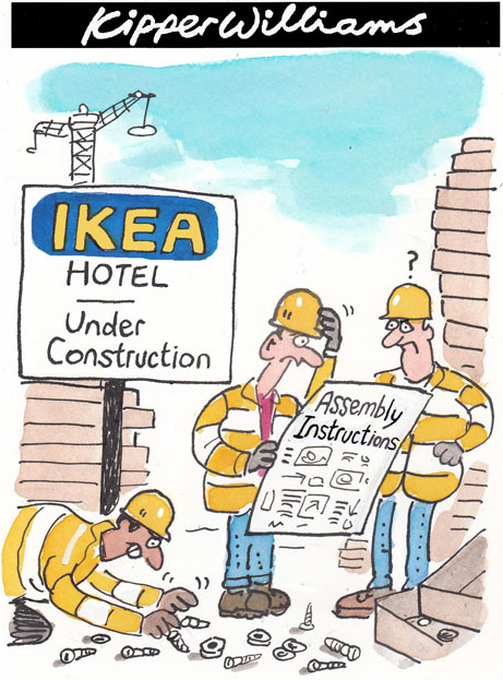 Builder assembling ikea hotel tickled pink werk or for Ikea comic book
