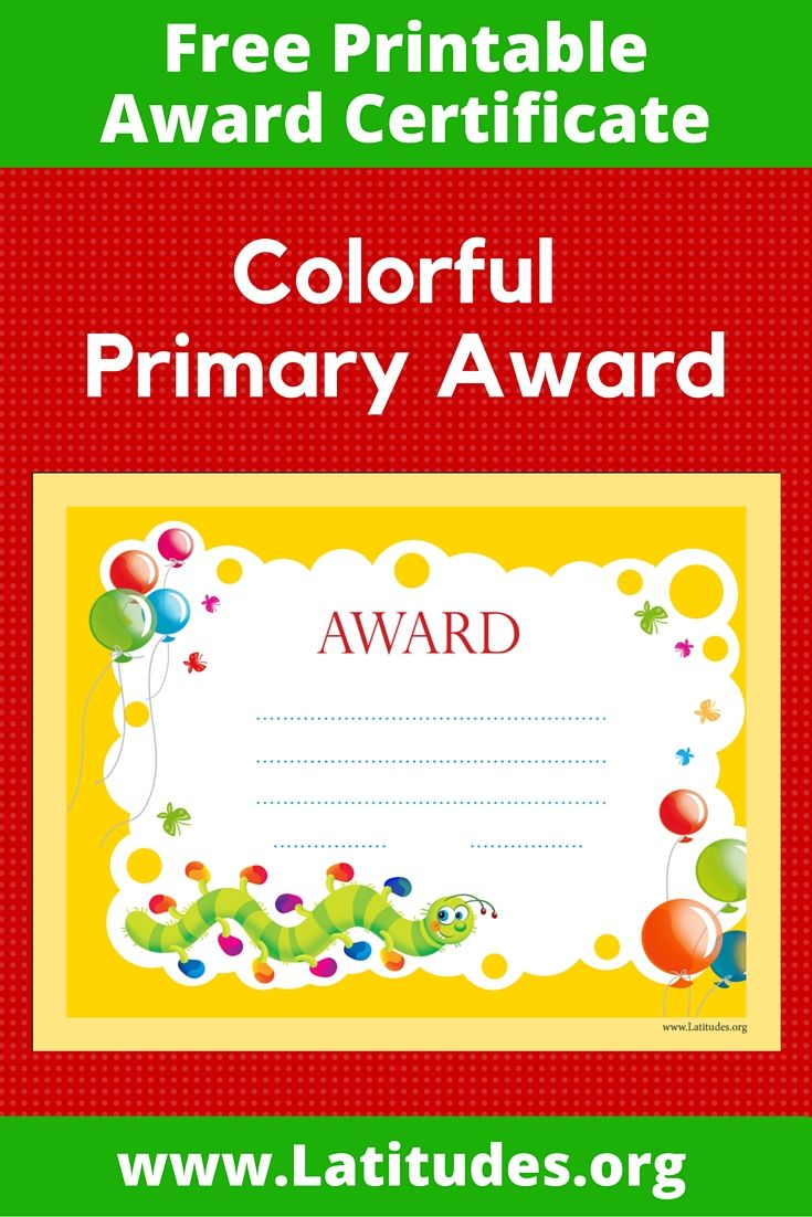 free award certificate colorful caterpillar primary