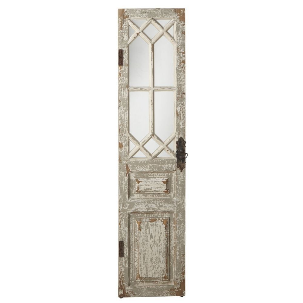 Doors 37910 Vintage Style Distressed Wood Door Mirror Wall Panel Shabby Chic Decor 67 H Buy It Mirror Panel Wall Antique Mirror Wall Mirror Wall