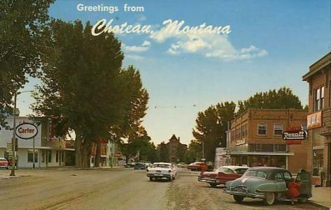 1950s Choteau Mt Montana Roadside Rexall Teton County Postcard
