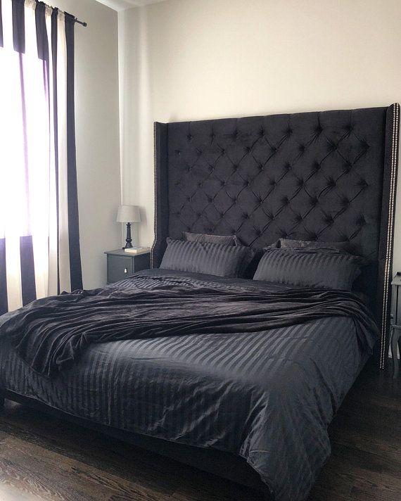 Diamond Tufted Wingback Headboard And Upholstered Bed Frame Black Upholstered Bed Black Headboard Bedroom Upholstered Bed Frame