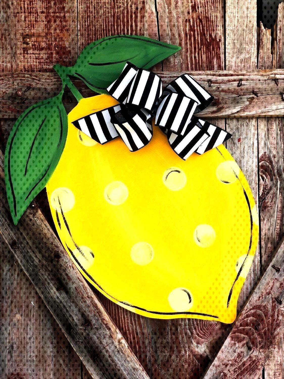Pictures Lemon Door Hanger - Lemon Front Door Sign - Lemon Decor - Wooden Lemon door Hanger Tips Y