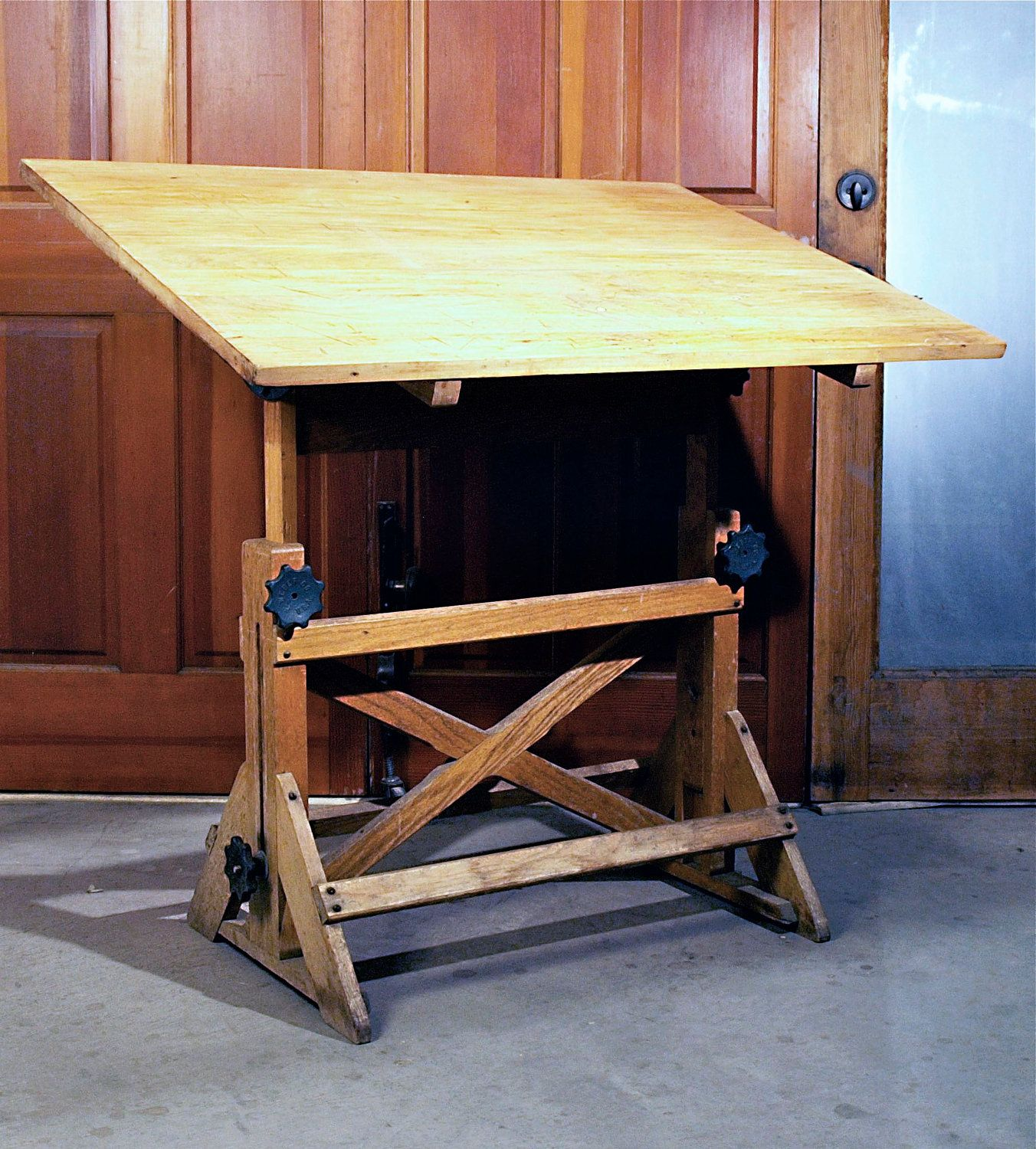 1930s vintage industrial fully adjustable drafting table with oak